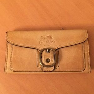 Coach tan large leather wallet